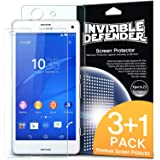 Xperia Z3 Compact Screen Protector - Invisible Defender Xperia Z3 Compact [3 Front+1 Back/MAX HD CLARITY] Lifetime Warranty Perfect Touch Precision High Definition (HD) Clarity Film (4-Pack) for Sony Xperia Z3 Compact (Not for Z3+ / Z3 / Z3 Dual / Z3v / Z3 Tablet)