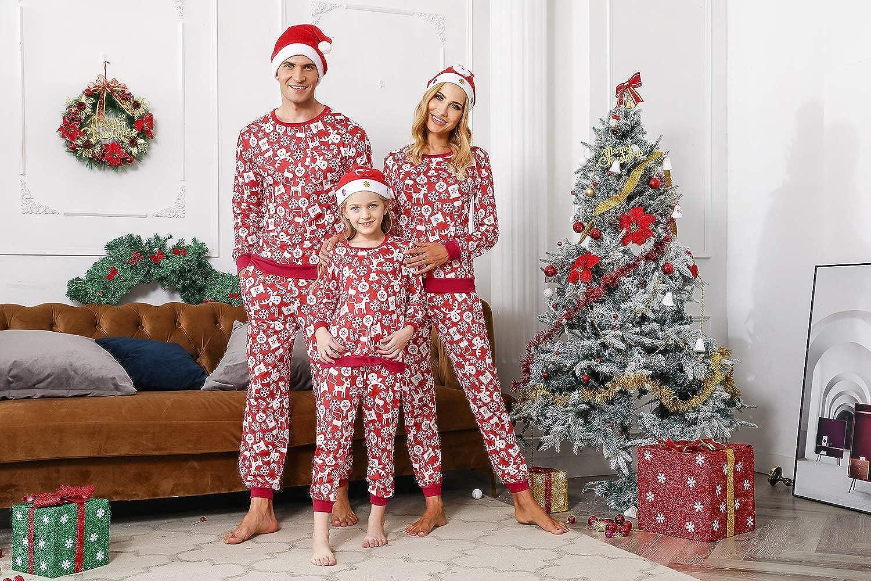 Akalnny Weihnachtspyjama Familie Christmas Schlafanzug Lang Pyjama Set Deer f/ür Damen Herren Kinder und Haustier mit Davidshirsch