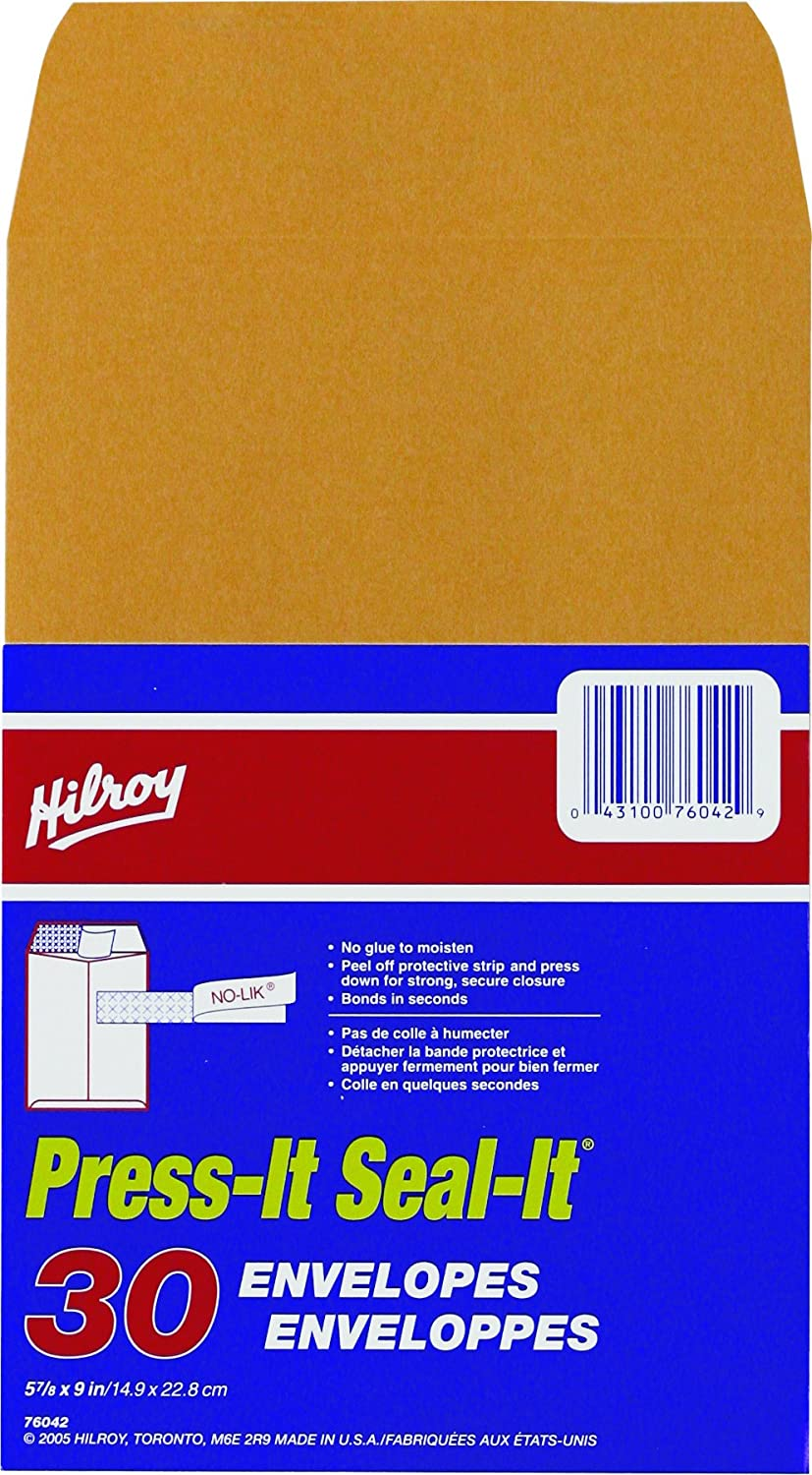 Press-it Seal-it Kraft Envelopes, 9 X 12 Inches, 25 Per Pack (76044) Hilroy