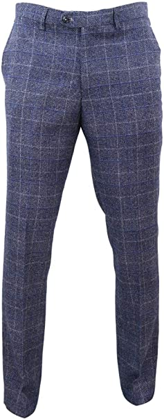 Men Tweed Check Herringbone Blue Navy Tailored Fit Trousers Peaky Blinders