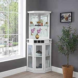 Home Source Corner Bar Unit, White