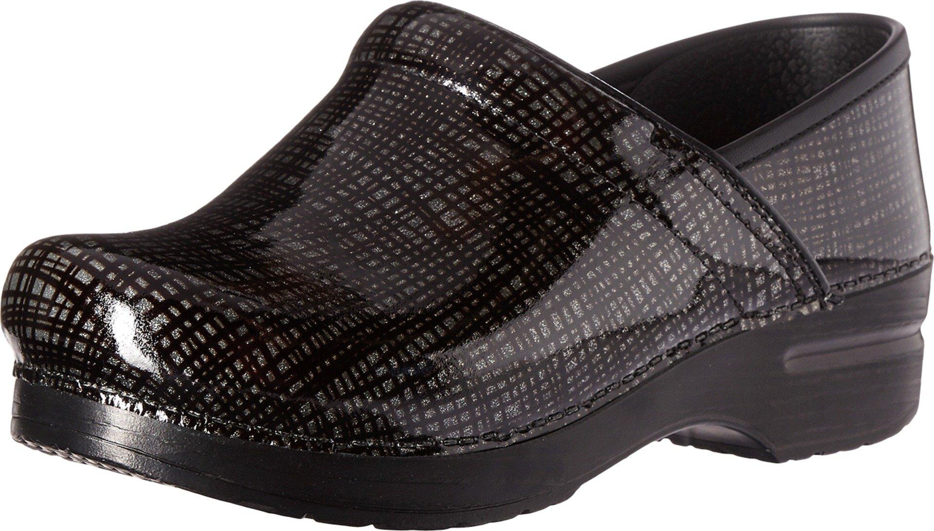 Dansko Women's Wide Pro Silver/Black Crisscross Leather Clog - 40 M EU / 9.5-10 C/D US