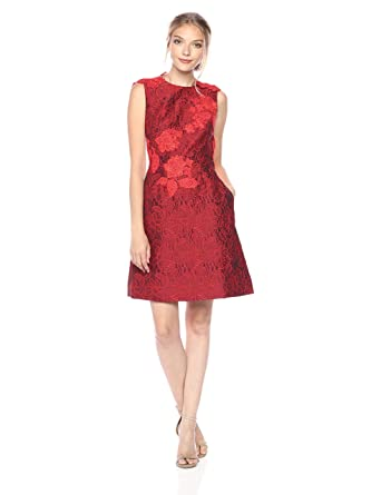 b633851b048 ML Monique Lhuillier Women s Brocade and Lace Dress at Amazon Women s  Clothing store