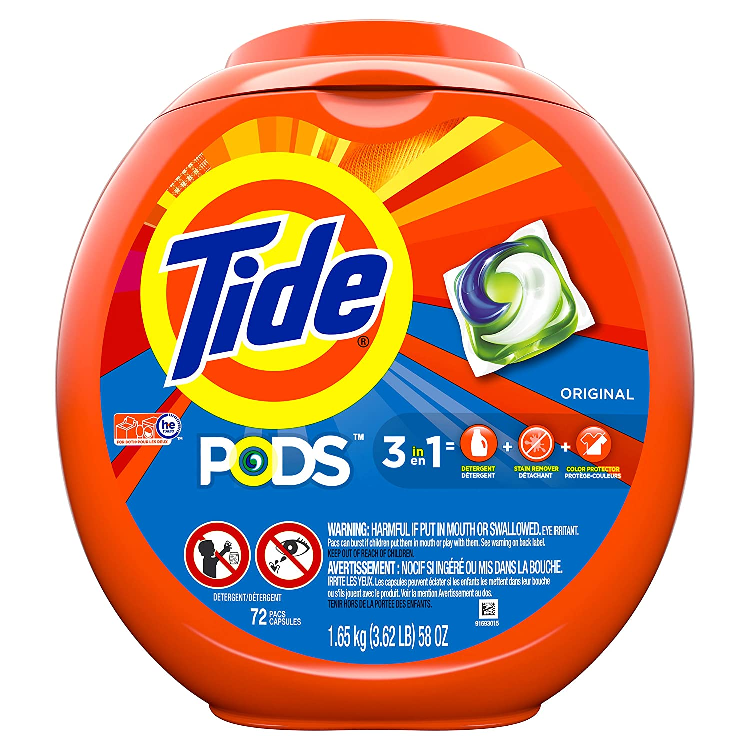 Tide PODS Original Scent HE Turbo Laundry Detergent Pacs, 72 count
