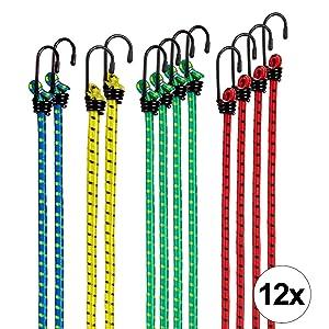TECAROO set de 12 gomas elásticas con gancho, extremadamente resistentes | 2 años de garantía de satisfacción | bandas de tensión, cuerdas de sujeción, pulpos para baca