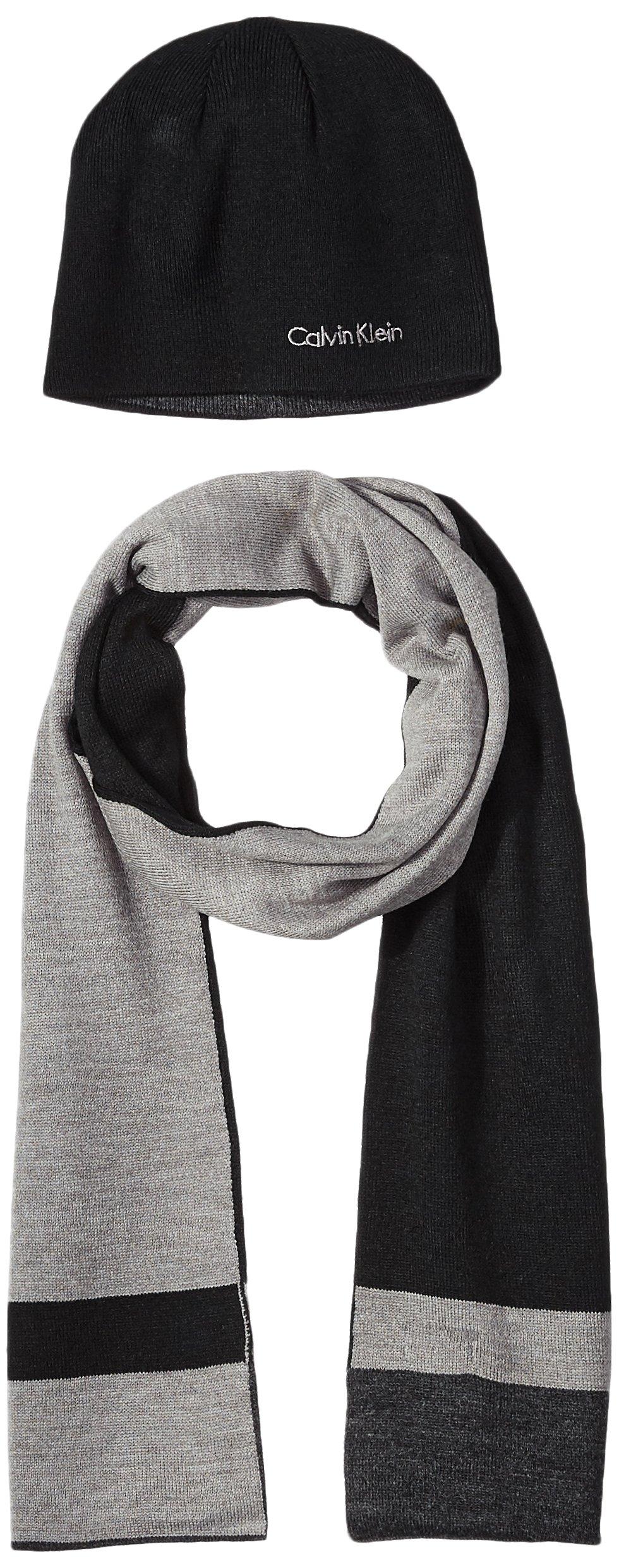 Calvin Klein Men's Hat and Scarf Set, Black/Heather Gray, One Size