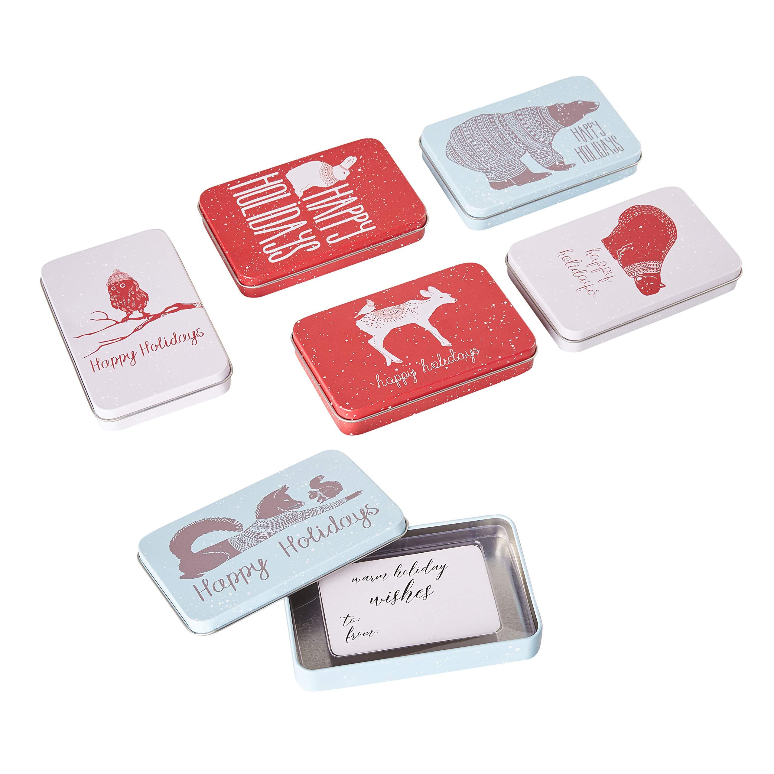 Amazon.com: Juvale Assorted Christmas Card Tin Holders Box
