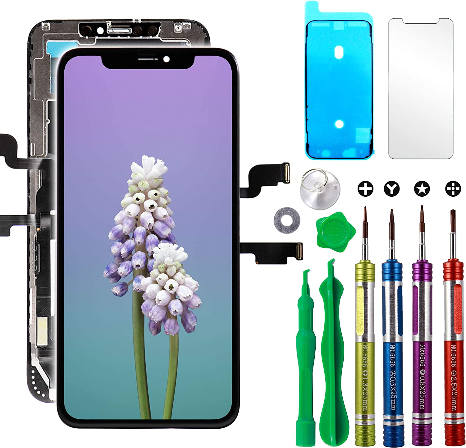 Hard OLED Screen Replacement for iPhone Xs Max 6.5 inch (Model A1921, A2101, A2102, A2103, A2104) Touch Screen Display Digitizer Repair Kit Assembly with Complete Repair Tools XS Max