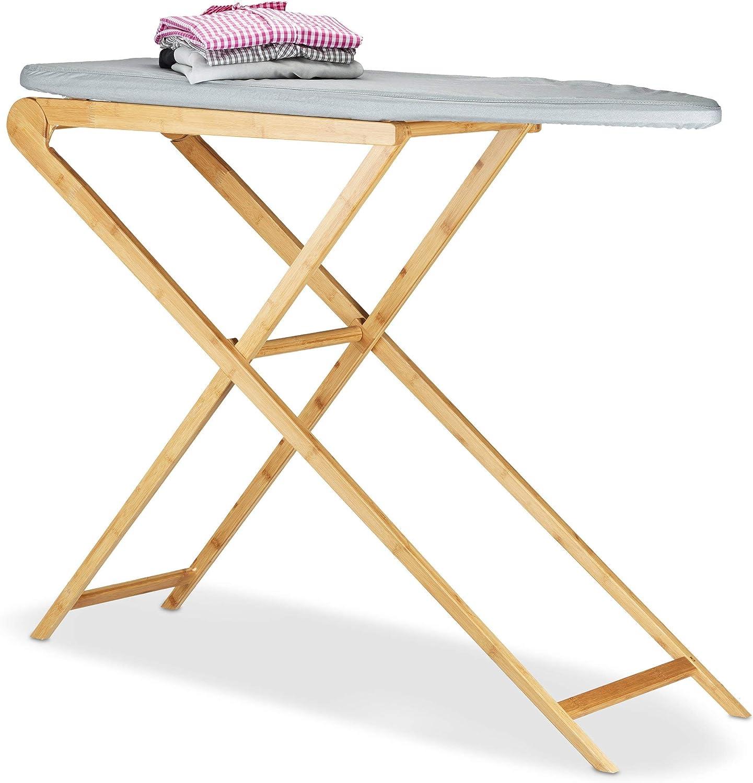 Relaxdays Tabla de Planchar Plegable Grande, Bambú, Gris, 39x124x95 cm