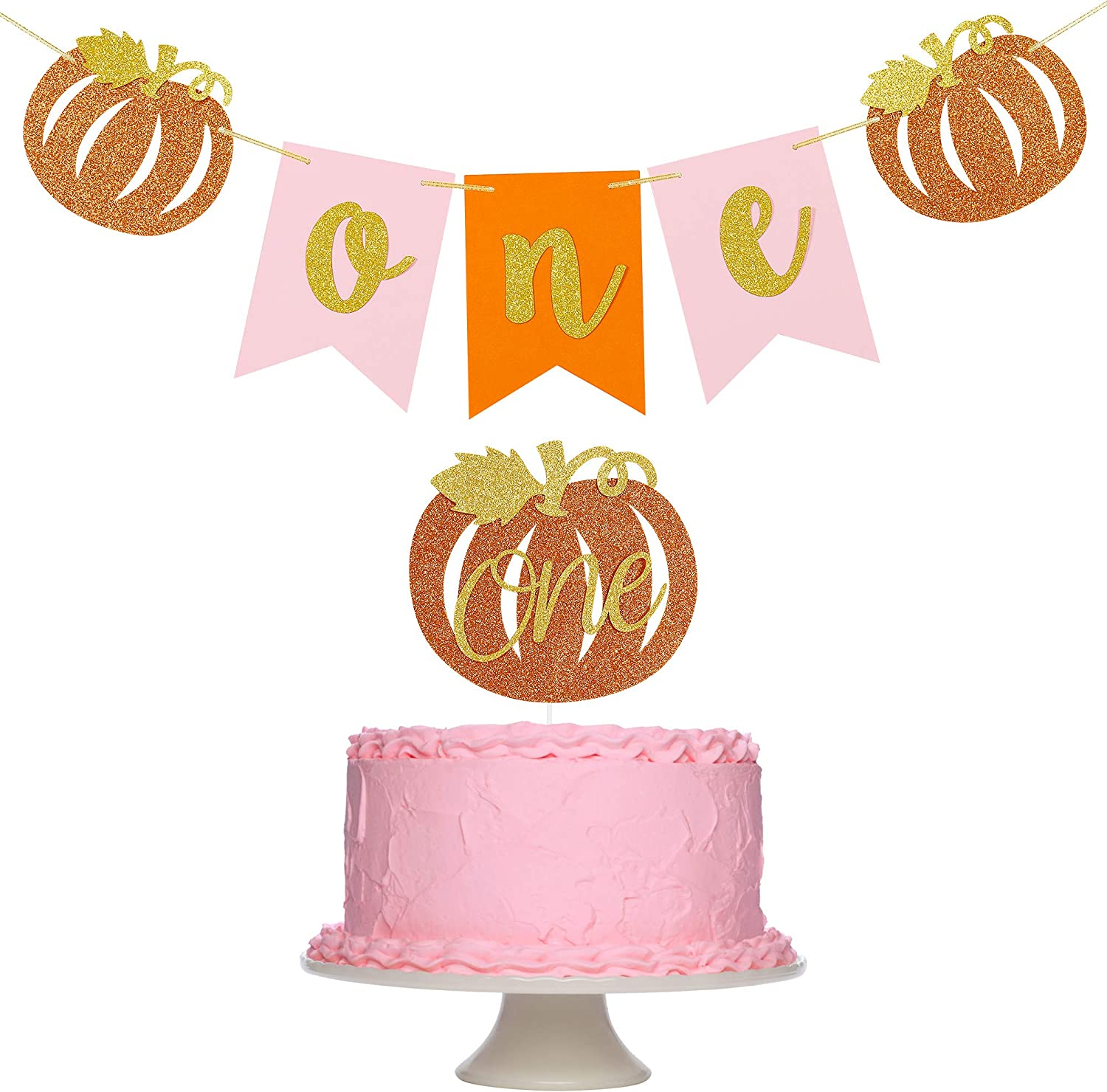 Fall Pumpkin One Banner + Pumpkin One Cake Topper for Thanksgiving Fall Pumpkin Themed 1st Birthday Party Decorations Supplies