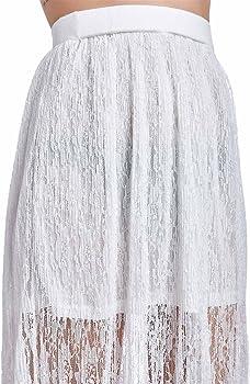 Q2 Mujer Falda larga blanca de crochet - One - Blanco: Amazon.es ...