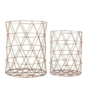 Awesome Bloomingville Large Wire Bin Storage Baskets, Set Of 2, Copper