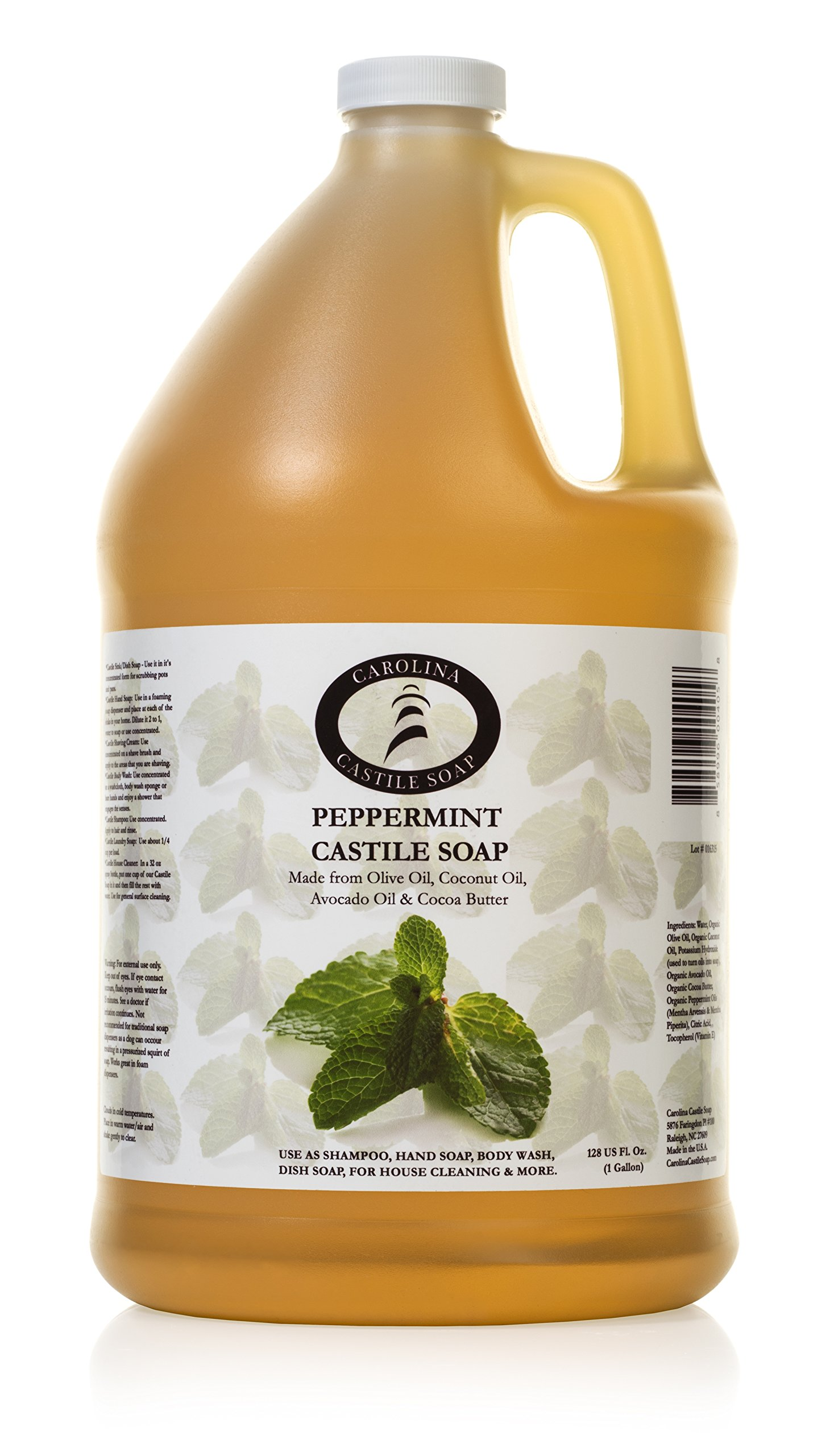 Carolina Castile Soap Peppermint | Certified Organic - 1 Gallon