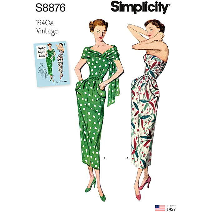 1940s Fabrics and Colors in Fashion Simplicity Sewing Pattern S8876 BB 1940s Vintage Misses/Womens Dress and Stole - Fits Sizes (20W 22W 24W 26W 28W) $14.95 AT vintagedancer.com