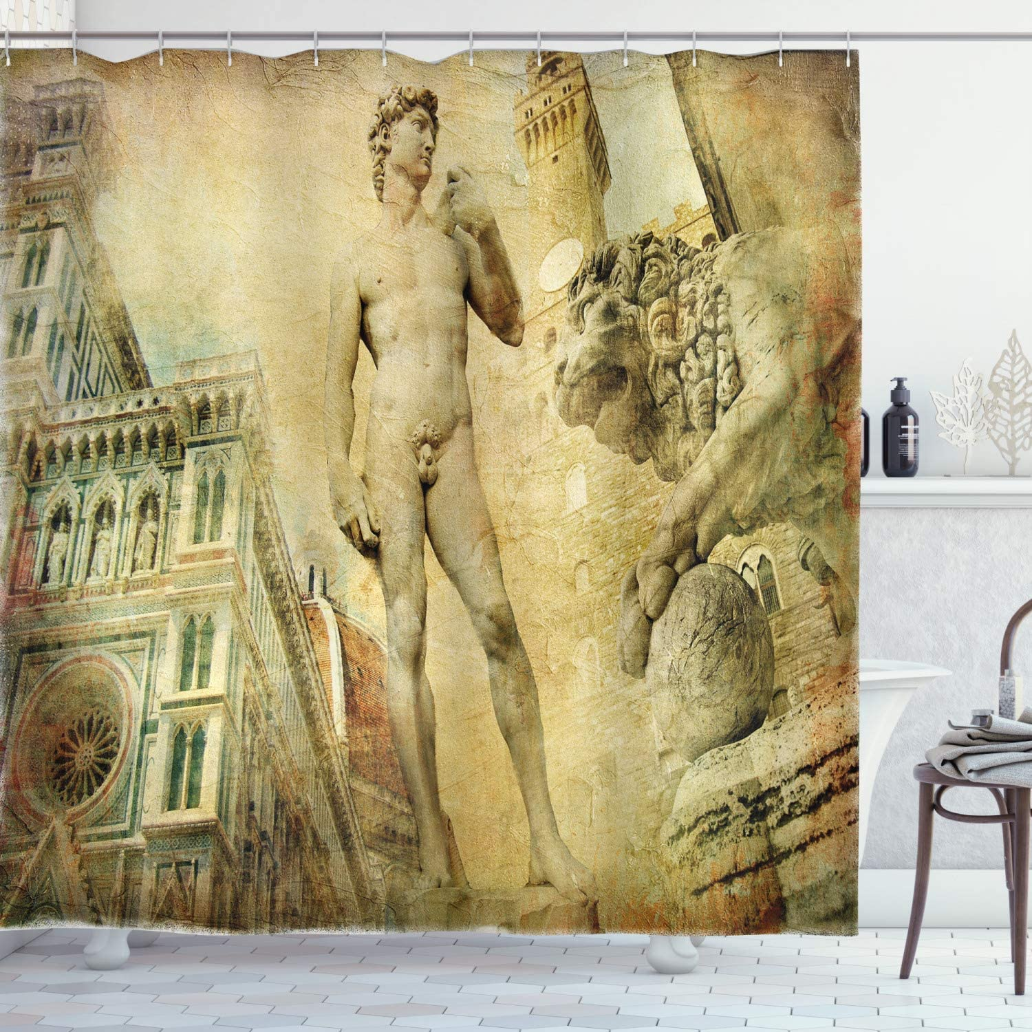 Ambesonne Italy Shower Curtain, Florence Art Collage Michelangelo David Renaissance, Cloth Fabric Bathroom Decor Set with Hooks, 70