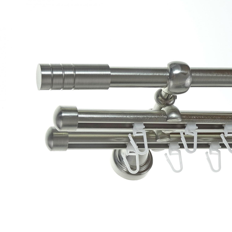 Rohr + Innenlauf Gardinenstange Edelstahl Look Ø 16mm zur Wandbefestigung 3-läufig Zylinder, H14 E28 + 2xB16I Länge wählbar , Länge 180 cm