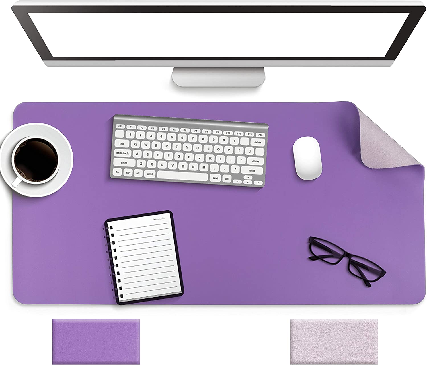 """Non-Slip Desk Pad, Waterproof PVC Leather Desk Table Protector, Ultra Thin Large Mouse Pad, Easy Clean Laptop Desk Writing Mat for Office Work/Home/Decor (Purple, 31.5"""" x 15.7"""")"""