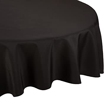 LinenTablecloth 70 Inch Round Polyester Tablecloth Black