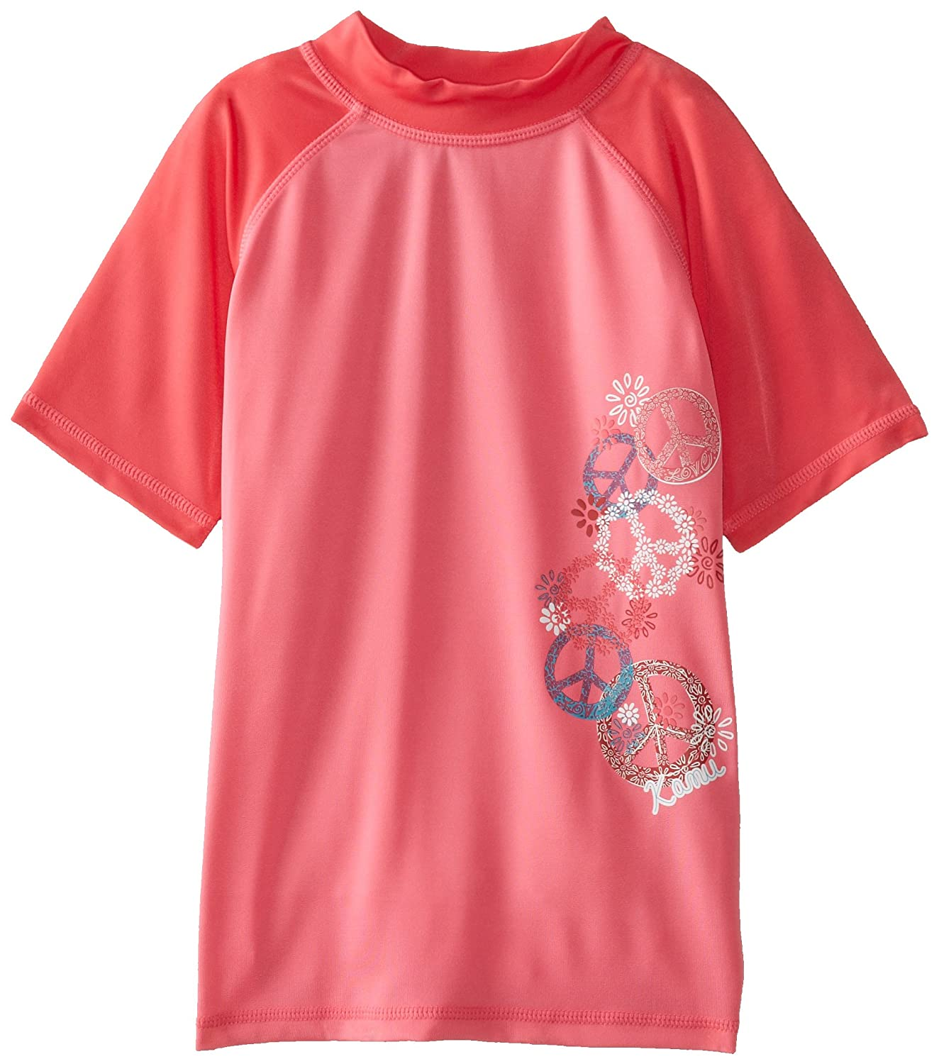 Kanu Surf Big Girls' Peace and Love Rashguards Pink 12/Large Kanu Surf Girls 7-16