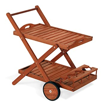 Carro de servicio, carrito de madera de 77 x 85 x 59 cm mod.