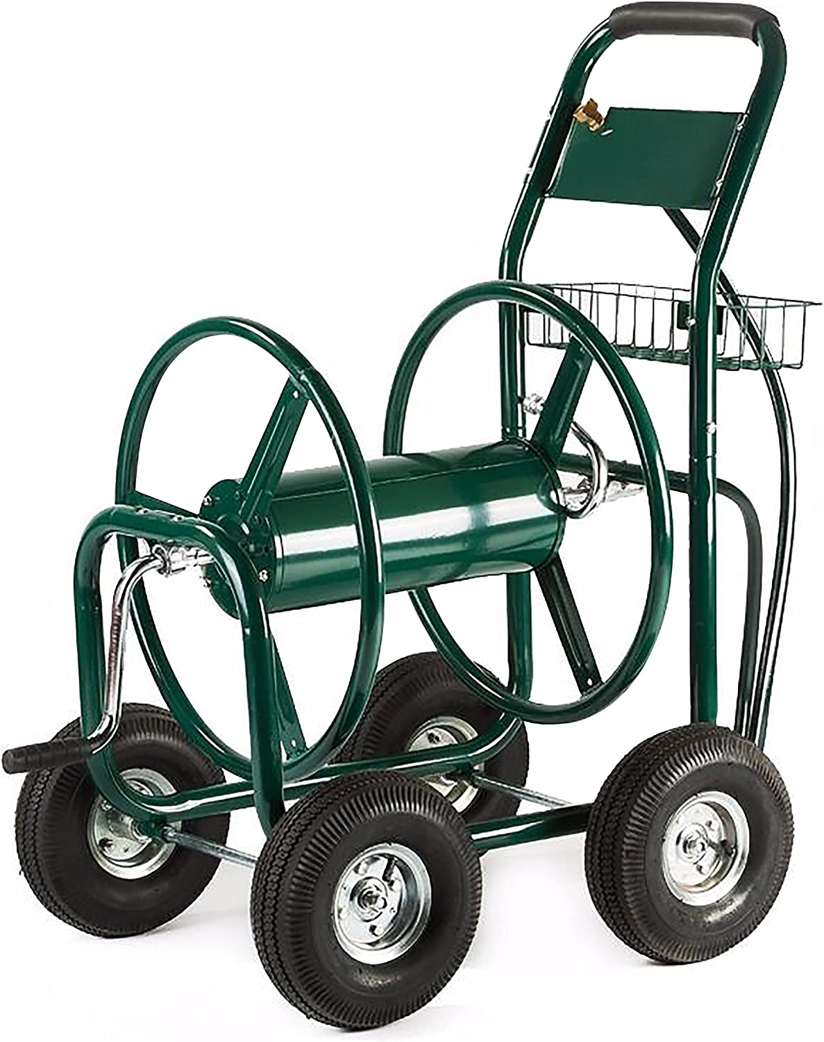 ALEKO GHRC400 Heavy Duty Hose Reel Cart Industrial 4 Wheel 400 Foot Hose Capacity Outdoor Yard Garden Landscape Green