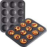 OJelay Muffin Pan 2 Pack 12 Cavity Nonstick Cupcake Baking Tray Heavy Duty Carbon Steel Muffin Tin