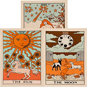VICHOCCA Wall Hanging Tarot Tapestry The Sun The Moon and The Star Tapestries for Home Bedroom Bohemian Decor , Pack of 3