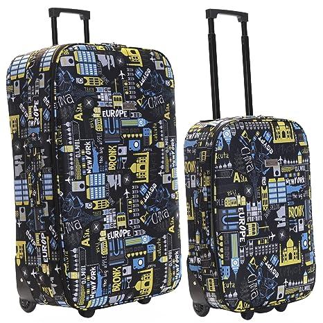 cd76c9526 Slimbridge Super Lightweight Set of 2 Luggage Suitcases Bags Cabin Carry-on  and Large 2 Wheels, Algarve Black/Blue: Amazon.co.uk: Luggage