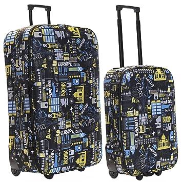 Slimbridge Algarve juego de 2 maletas ligeras, Negro/Azul: Amazon.es: Equipaje