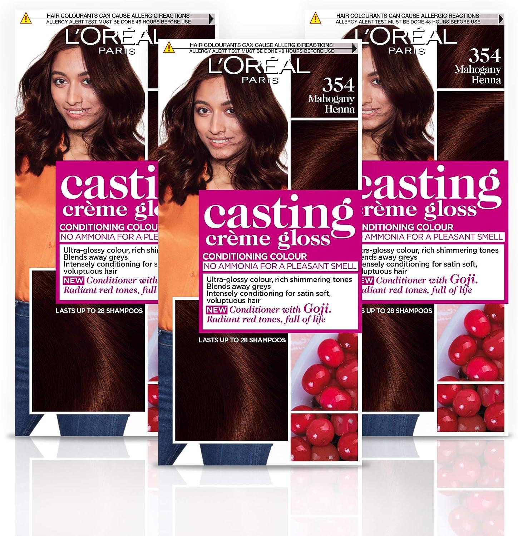 L Oréal Paris – Casting creme gloss – Tinte de pelo, color 354 Henna de caoba cobre marrón, Paquete de 3 unidades