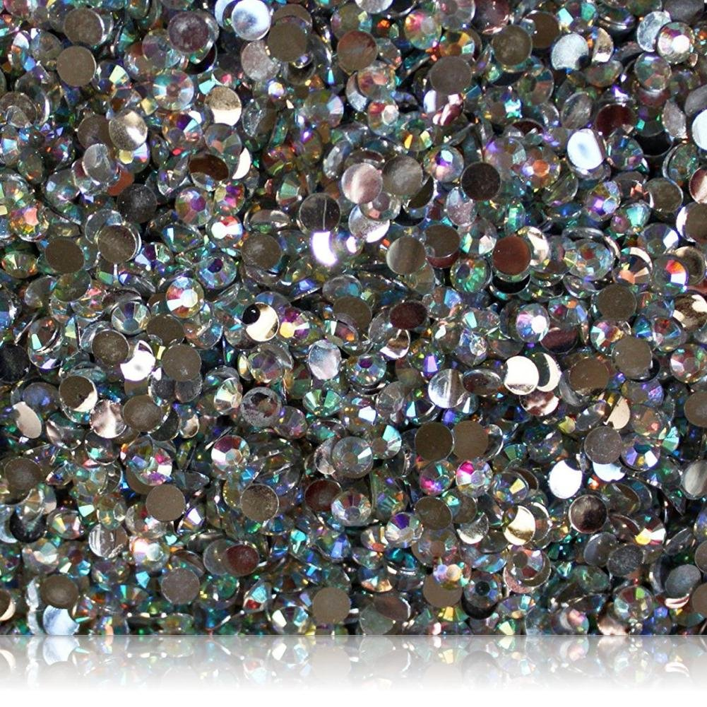 "100% Custom Made (5mm) 1000 Bulk Pieces of Mini Size ""Glue-On"" Flatback Embellishments for Decorating, Made of Acrylic Resin w/Shiny Iridescent Crafting Rhinestone Crystal Diamond Gem Style {Clear}"