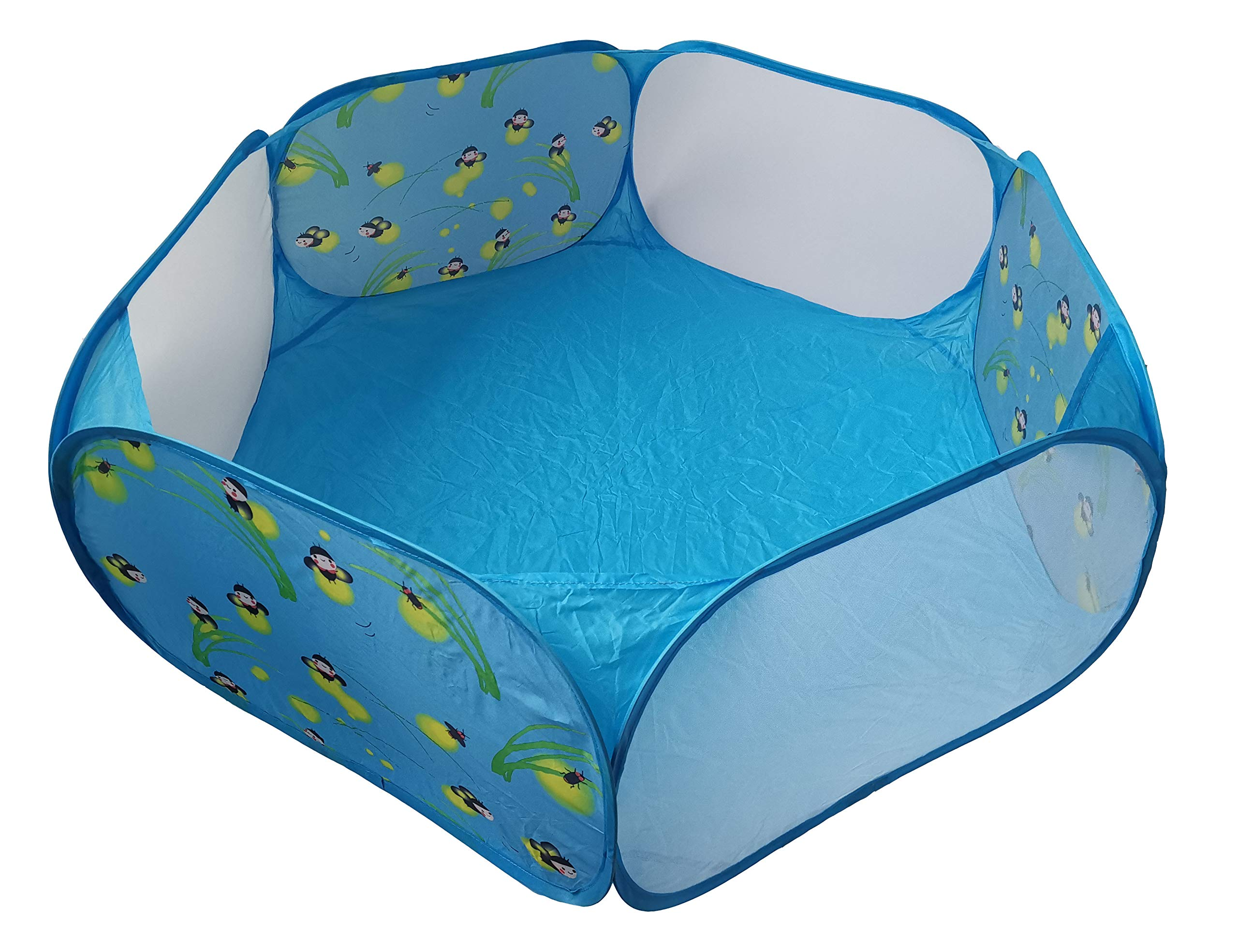 WOWOWMEOW Pop Open Small Animals Exercise Playpen Portable Outdoor Pets Fence for Guinea-Pigs, Hamster, Chinchillas and Hedgehogs (1.2M, Blue-Firefly) by WOWOWMEOW
