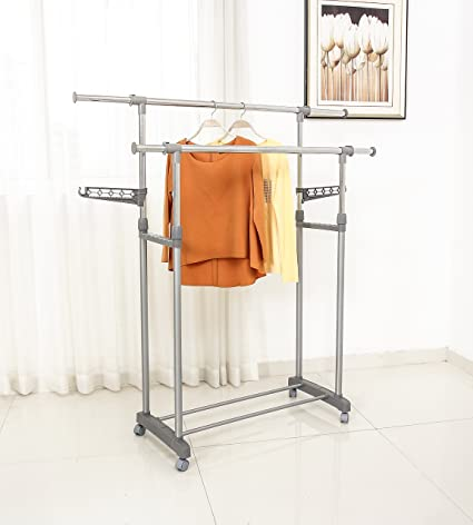 Gentil Jusdreen 2 Rods Clothes Drying Rack Adjustable Clothes Garment Rack  Telescopic Laundry Rack Indoor/