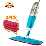 Spray Mop, Hardwood Floor Mop Kit with 3 Reusable Microfiber Pads & bottle, Dry and Wet Mop for Cleaning Hardwood and Floors