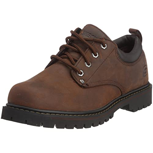 Skechers Tom Cats - oxford con cordones de cuero hombre, Marrón (Dark Brown)