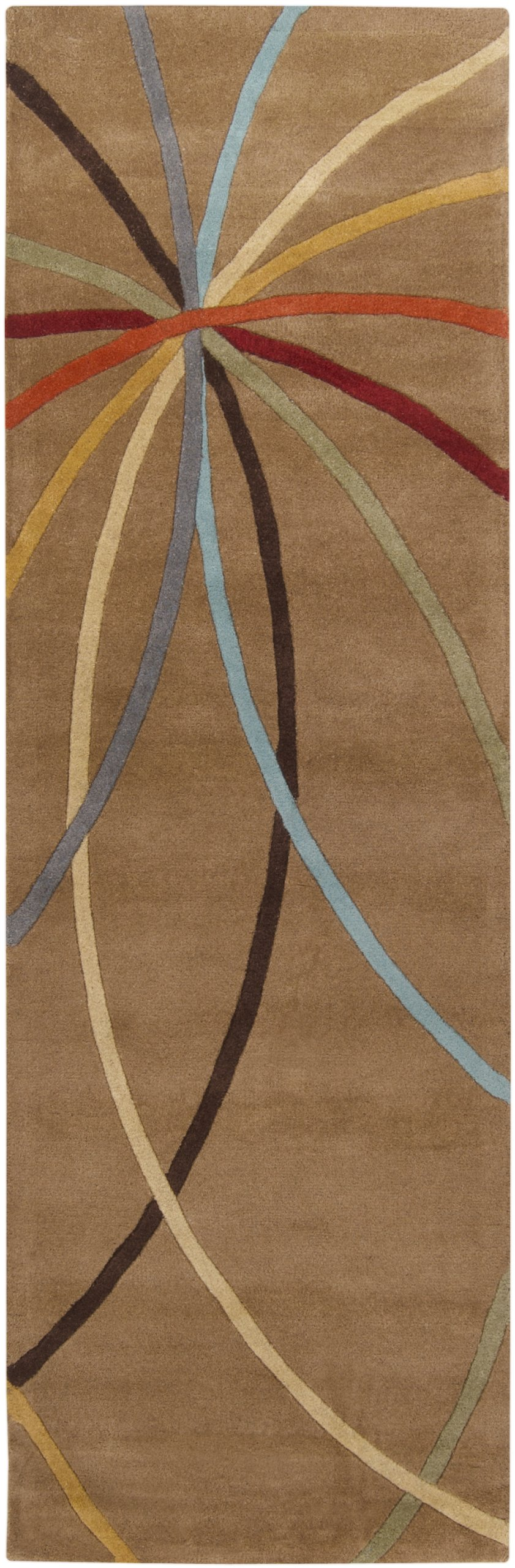 Surya Forum FM-7140 Contemporary Hand Tufted 100% Wool Driftwood Brown 2'6'' x 8' Abstract Runner