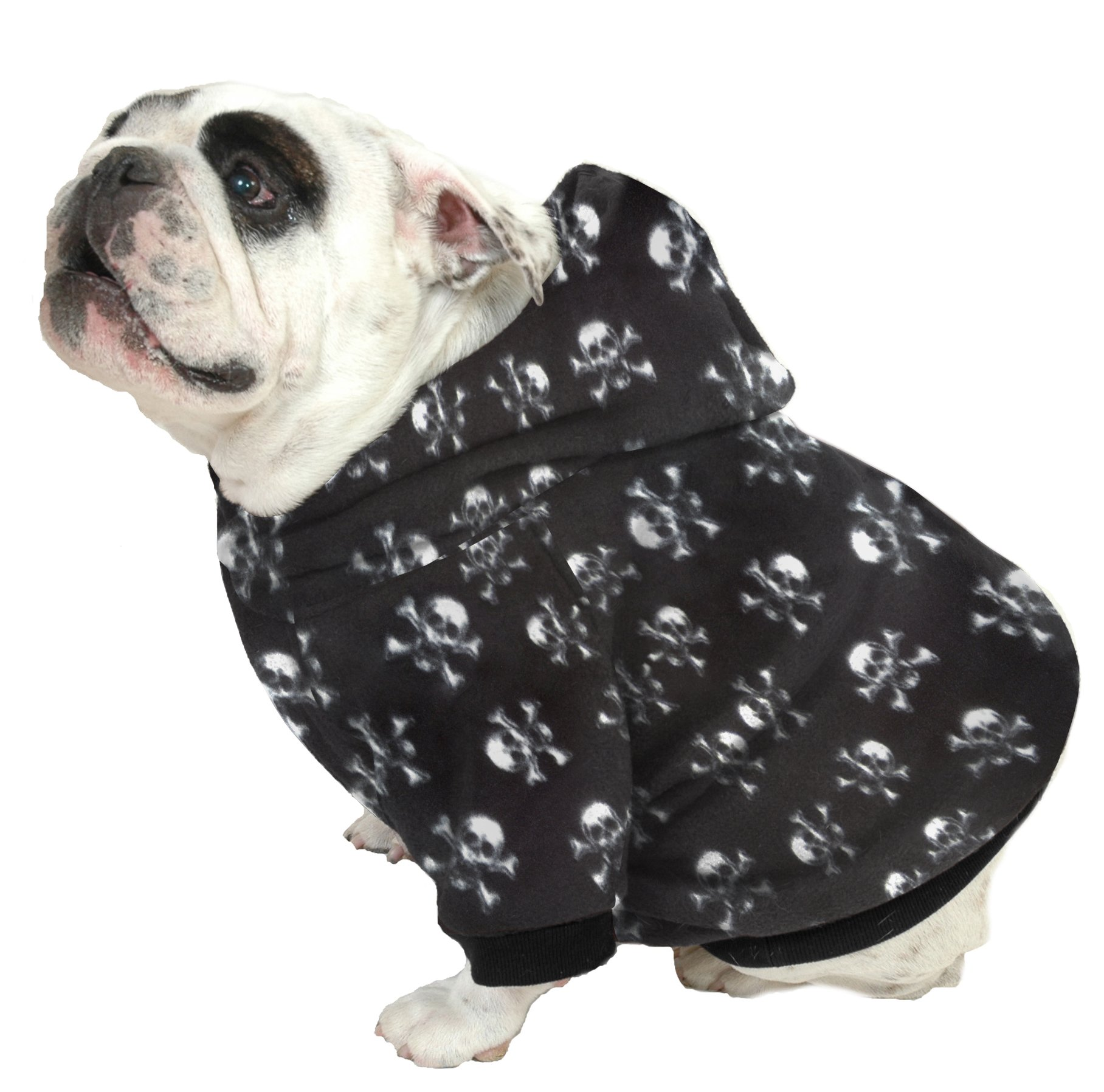 Plus Size Pups English Bulldog Dog Sweatshirts - Sizes Beefy and Bigger Than Beefy with More Than 20 Fleece Patterns to Choose from! (Bigger Than Beefy, White Skull Heads on Black) by Plus Size Pups