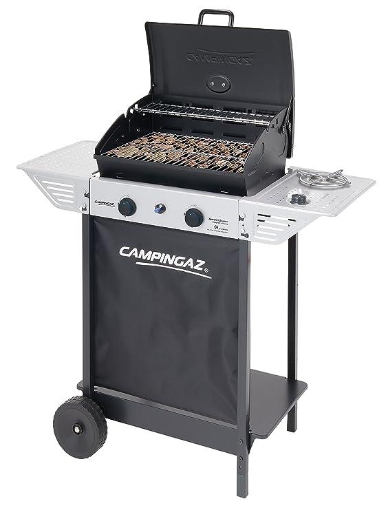 Campingaz Xpert 100 LS Plus Rocky Barbacoa Gas para Piedra Volcanica, BBQ gas con 2 quemadores, 7.1kW de potencia, 2 Parrillas de acero cromado, ...