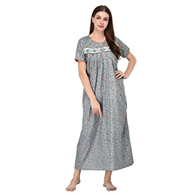 29ecfe10b57 NIGHTFAB Women s Cotton Nighty Nightwear Women Sleepwear Night Dress Nighties  for Ladies  Amazon.in  Clothing   Accessories
