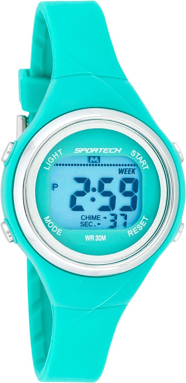 SPORTECH SP10718 - Reloj deportivo digital multifunción (resistente al agua), color turquesa