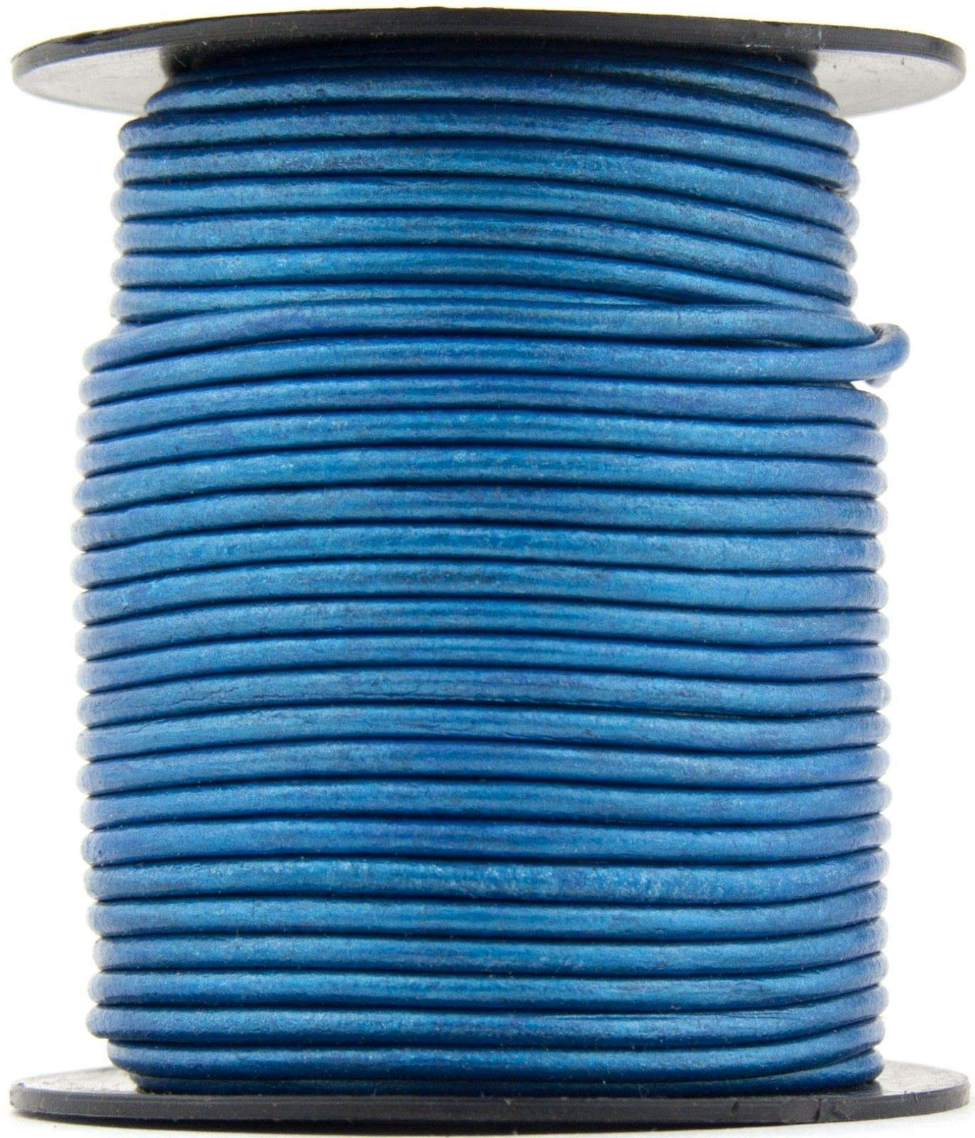 Blue Metallic Round Leather Cord 2mm 25 Meters (27.34 Yards)