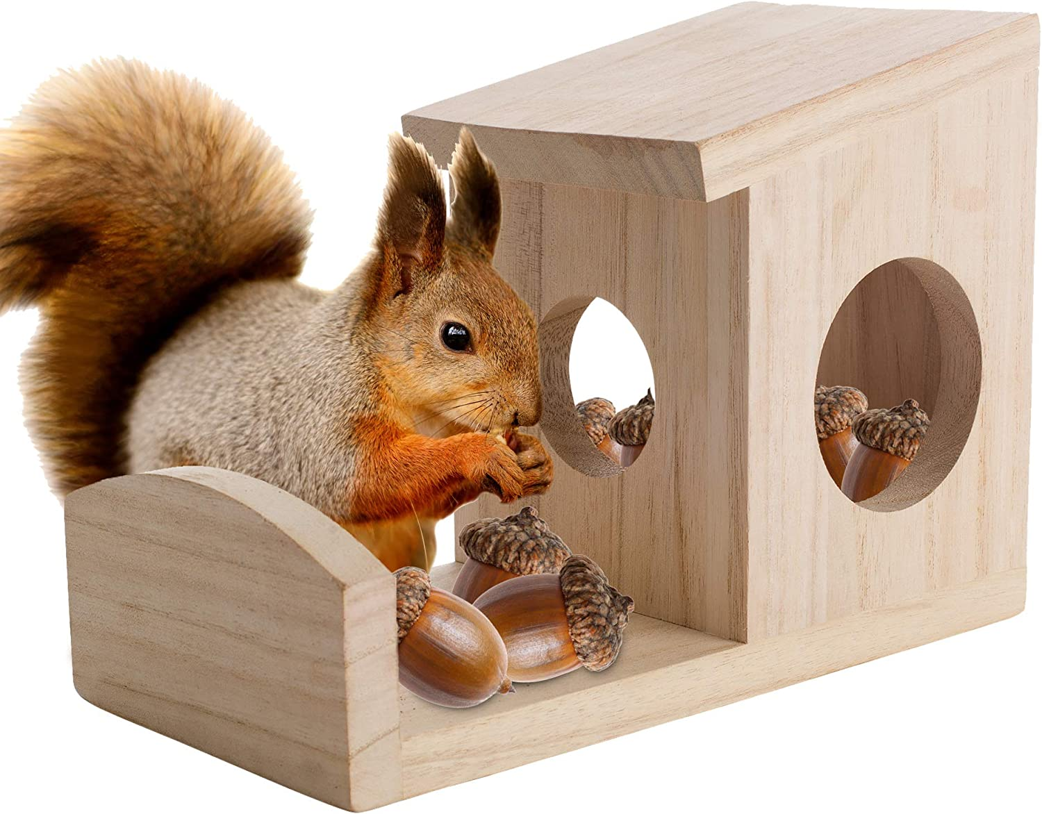 Squirrel Feeder for Outside - Environmentally Friendly Wood Squirrel Feeders for Outdoors That Hold Food, Nuts and Seeds - Squirrel Feeder Hangs Outdoors On Trees Fences Posts - by Nature's Hangout