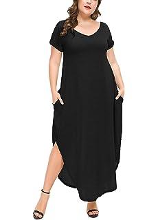 d28c8a229 PlusSize Depot Women's Plus Size Casual Loose Long Dress Short Sleeve Side  Split Maxi Dresses with