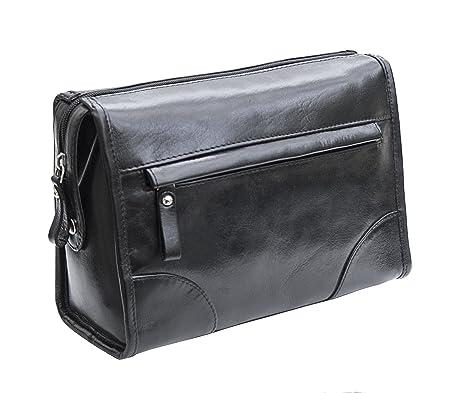 Prime Hide Men s Milano Luxury Leather Wash Toiletry Bag Black   Amazon.co.uk  Luggage ea6fbcbaa49f0