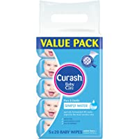 Curash Simply Water Baby Wipes Travel Pack 5X20 PK