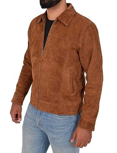 A1 FASHION GOODS Exklusiv Echt Weiches Hellbraun Wildleder Reißverschluss Jaspis Blouson Jacke für Männer Baxter