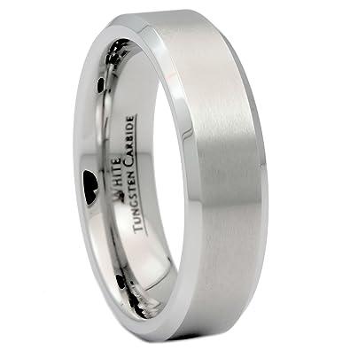 Custom Engraved 6mm Brushed White Tungsten Carbide Wedding Band Polished Edge Ring Size 10