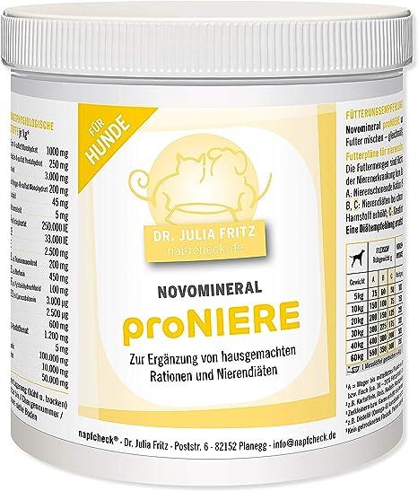 napfcheck Novomineral proniere – minerales, vitaminas y aminoácidos para perros enfermos de riñón y ramas caseras – 500 g
