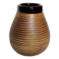 Grande tasse à maté à rayures en céramique