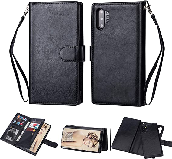 Purple 6.8 inch Galaxy Note 10 Plus Wallet Case 5G,FLYEE 10 Card Slots Premium Leather Zipper Purse case Flip Kickstand Folio Magnetic with Wrist Strap Credit Cash Cover for Samsung Galaxy Note 10